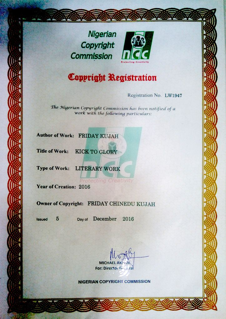 Kick To Glory copyright registration approval letter