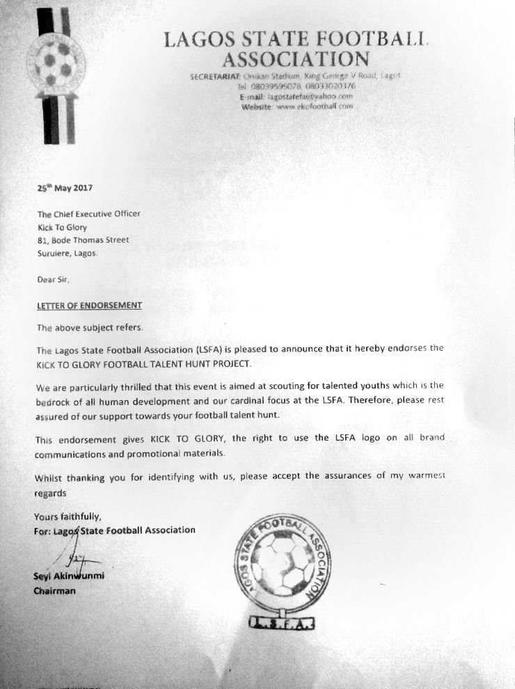 Kick To Glory endorsement letter from Lagos State Football Association