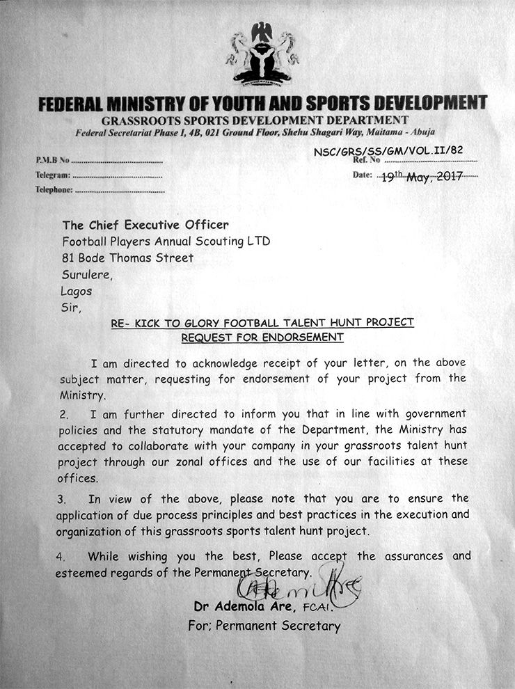 Kick To Glory endorsement letter from Ministry of Sports
