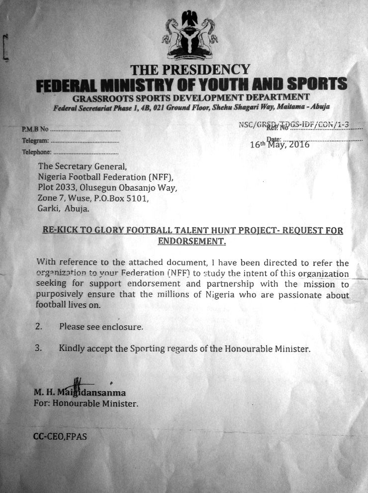Kick To Glory approval letter from Ministry of Sports