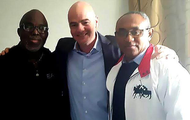 FIFA President Gianni Infantino, CAF President Ahmad Ahmad, NFF President Amaju Pinnick